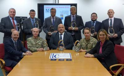 Chair of judges Adrian Smith with the 2016 panel of judges for the National Courier Awards, hosted by Colonel Tim Blackmore at the military HQ for post, BFPO Northolt.