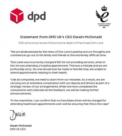DPD announce strategic review after tragic death of driver Don Lane
