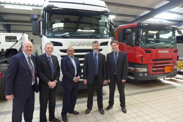 IOC chair Carl Lomas, Matt Agnew Scania, Stephen Ram  Kissun AELP, Dean Dr David Russell, Univ Derby, Mathew Watson Gen Manager Scania