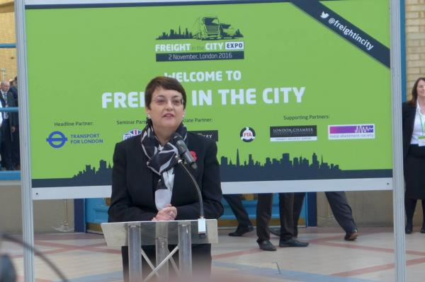 Deputy Mayor of London Val Shawcross addresses the Freight in the City Expo at Alexandra Palace 2nd Nov 2016