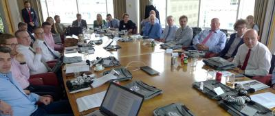 Historic gathering of express sector in City Boardroom of Investec for employment review