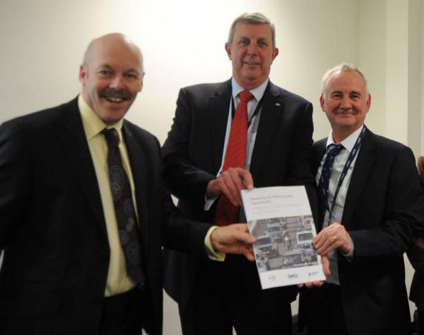 IOC Carl Lomas with MCIA boss Steve Kenward and Highways England Stewart Lovatt