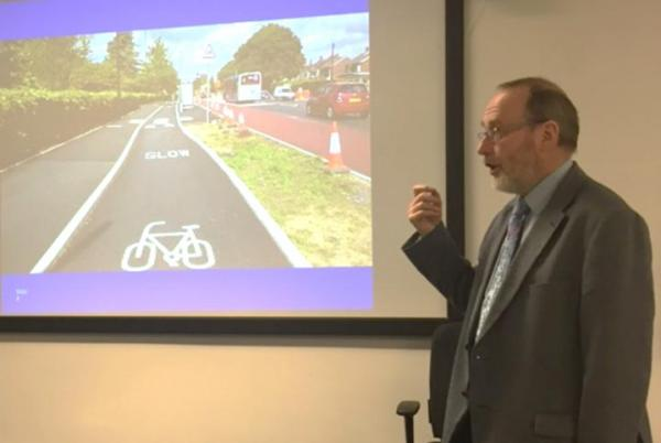 Richard Armitage Wagl cycle couriers Manchester talks cycle lanes at MMU