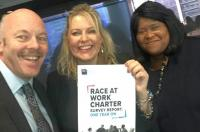The IOC stands forward with Minister for Employment, the Rt Hon Mims Davies and Sandra Kerr CBE to pledge signature of the express sector to the race at work charter.