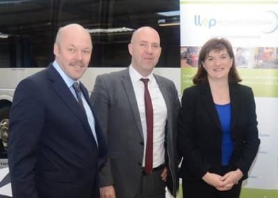 Carl Lomas with Middle England LEP director Corin Crane LLEP & Sec of state for education Nicky Morgan