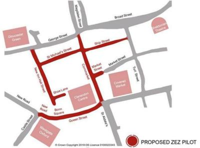 Map of ZEZ Pilot zone which consists of Bonn Square, Queen Street, Cornmarket, part of Market Street, Ship Street, St Michael's Street, New Inn Hall Street, and Shoe Lane