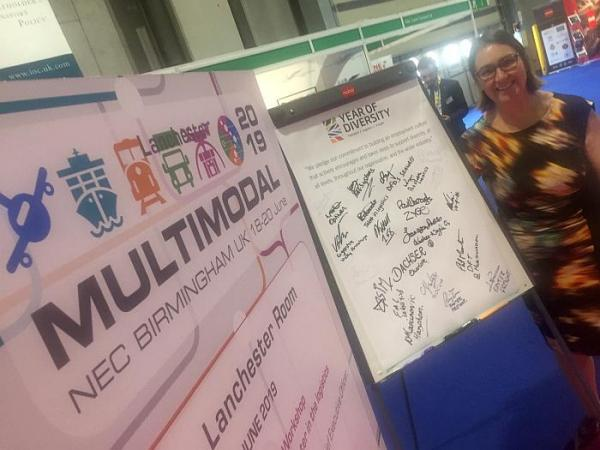 Tracey Worth at Multimodal 2019 with a board full of Year of Diversity pledges