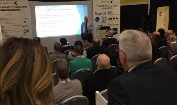 Lomas delivers express, final mile keynote on yellow carpets at the Coventry Arena for record-breaking IntraLogisteX trade show.