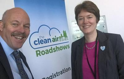 IOC Chairman Carl Lomas with TfGM Megan Black at recent Manchester clean air roadshow.