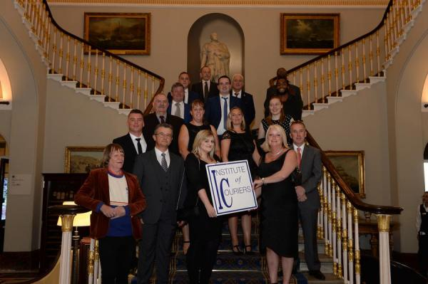 The 2018 shortlisters for the 22nd National Courier Awards gather on the staircase at the Institute of Directors in Pall Mall, London