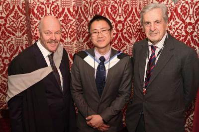IOC Chairman Carl Lomas with new IOC chair of Asia group, Prof Ming Lim and the IOC president, Viscount Lord Falkland