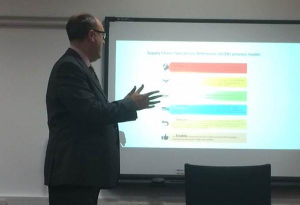 Neil Role, Supply chain academy, talked  SCOR map, supply chain references, (Plan, source, make, deliver, return, enable)
