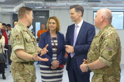 IOC CEO Tracey Worth talks military logistics with John Hollland Kaye at a recent West Thames College Logistics open day.