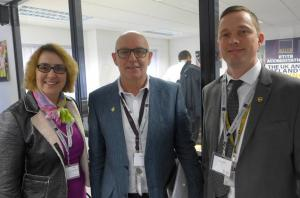 UPS Gary Swift, Andrew Louden with Tracey Worth IOC talking shop on express courier training Feb 2016