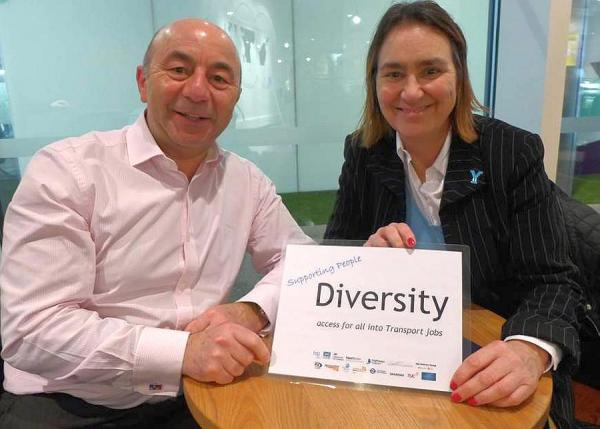 'Y for Yorkshire' – DWP Alex Farkas with IOC Tracey Worth to talk rich diversity in Express courier stream of transport jobs.