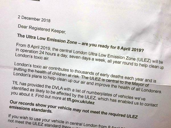 TfL letter sent out Dec 2018 for vehicles that may not be compliant to use the ULEZ zone without penalty.